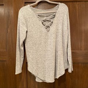 Lace Up Sweater Tee